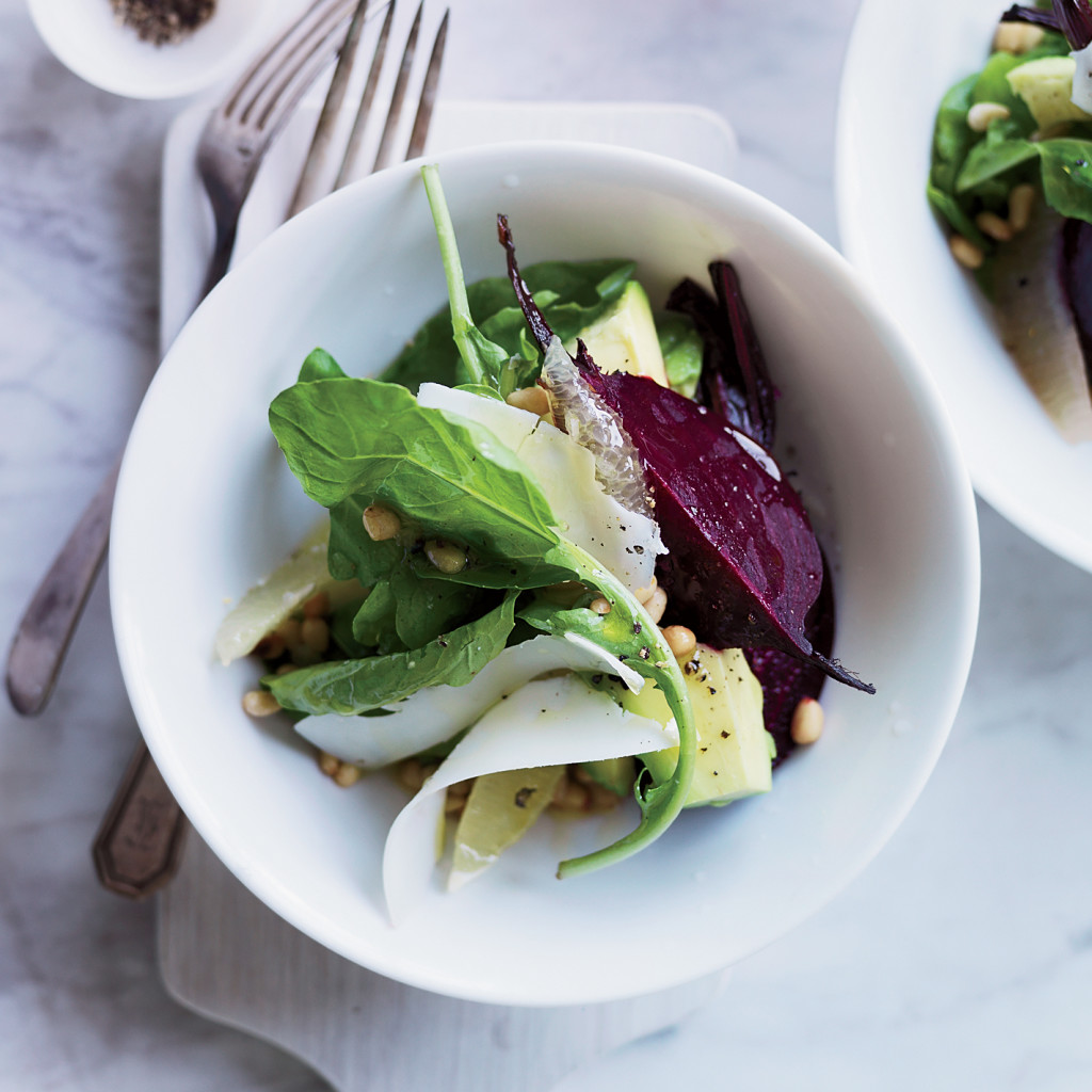 Beet::  Avocado  and  Arugula  Salad